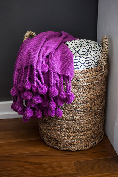 Rustic+Decor+purple+throw+pom+pom+fringe+navy+-ZrLwyDABnLl
